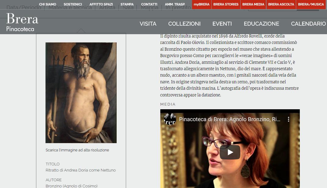 Narrazione Bronzino/Andrea Doria sul sito web della Pinacoteca di Brera