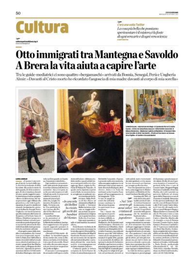 """Scansione dell'articolo """"Otto immigrati tra Mantegna e Savoldo. A Brera la vita aiuta a capire l'arte"""", Eco di Bergamo, 10 ottobre 2012."""
