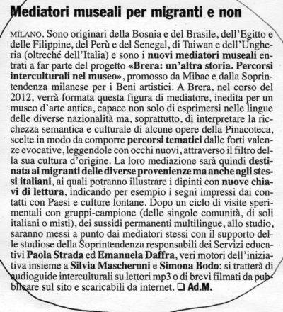 """Scansione dell'articolo """"Mediatori museali per migranti e non"""", Giornale dell'Arte, aprile 2012"""