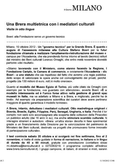 """Scansione dell'articolo """"Una Brera multietnica con i mediatori culturali"""", Il Giorno online, 11 ottobre 2012 - pagina 1"""