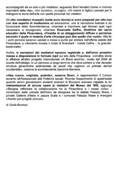 """Scansione dell'articolo """"Una Brera multietnica con i mediatori culturali"""", Il Giorno online, 11 ottobre 2012 - pagina 2"""